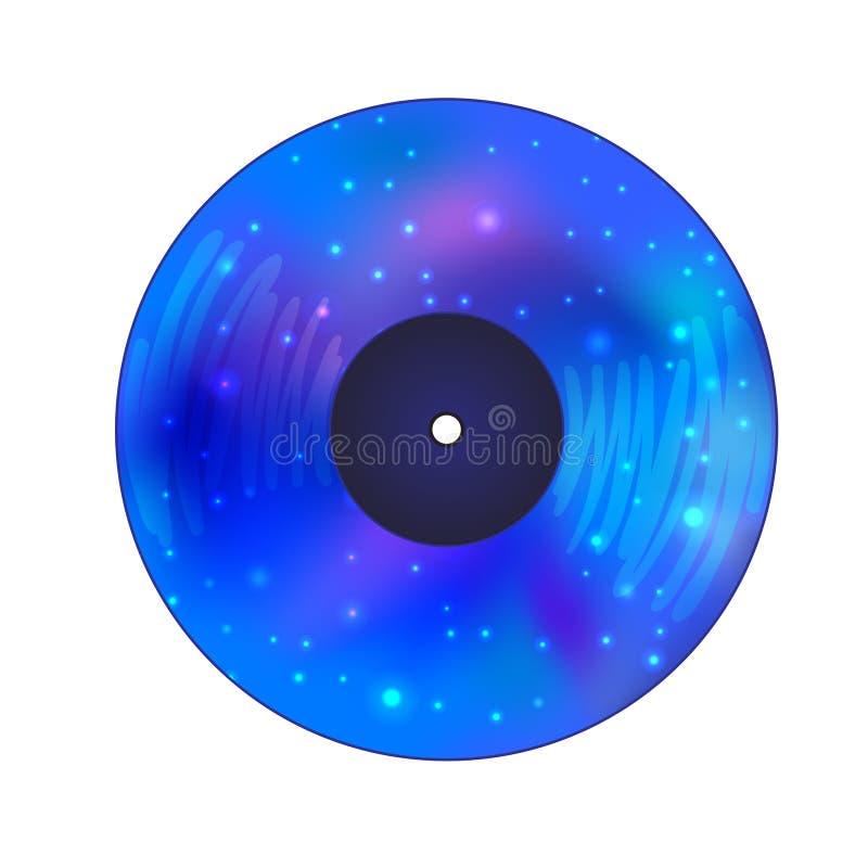 Disco do registro de vinil com galáxia para dentro Isolat da ilustração do vetor ilustração stock