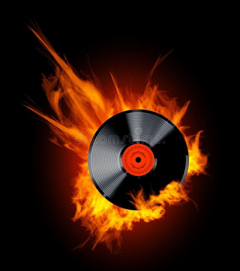 Disco do registro de vinil nas chamas ilustração royalty free