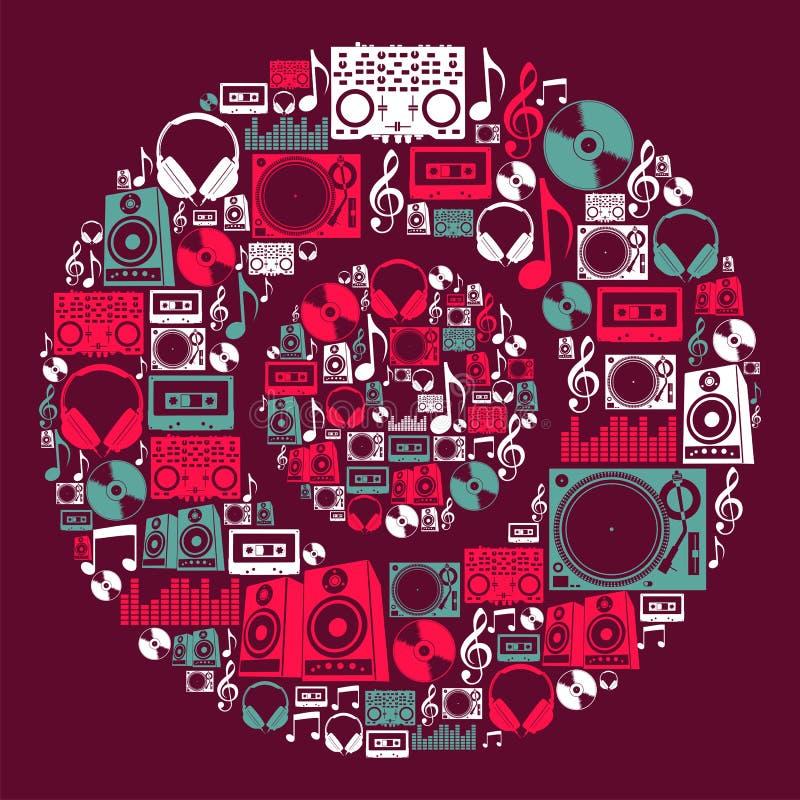 Disco dos ícones da música do DJ ilustração stock