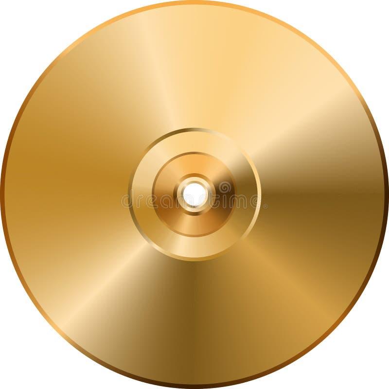 Disco dourado do CD DVD isolado no fundo transparente ilustração royalty free