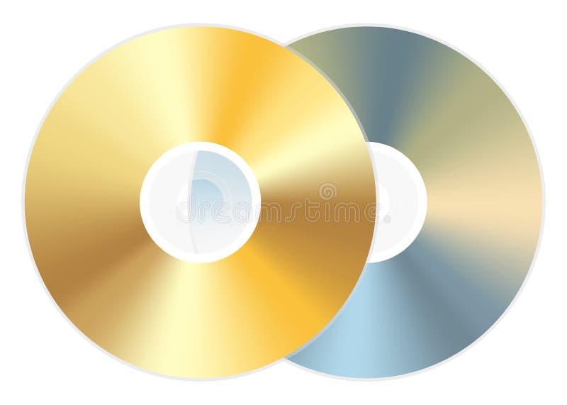 Disco dourado do dvd do CD ilustração stock
