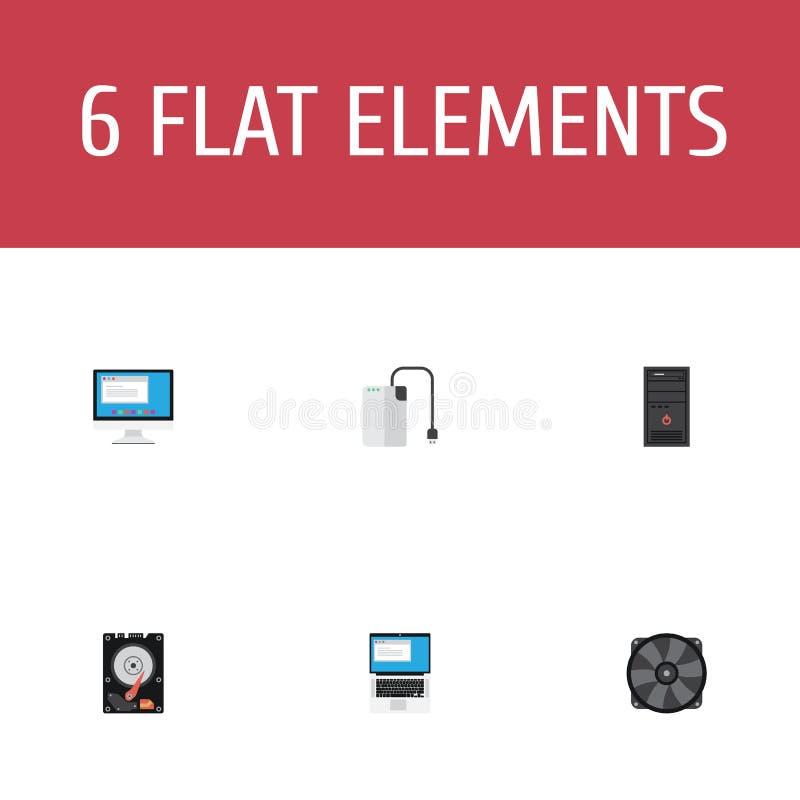 Disco duro de los iconos planos, dispositivo de almacenamiento, ordenador portátil y otros elementos del vector stock de ilustración