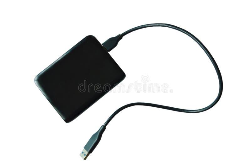 Disco duro externo del bus de serie universal negro que conecta con el ordenador en el fondo blanco fotos de archivo libres de regalías