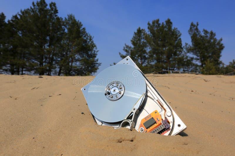 Disco duro roto abstracto del ordenador en la arena imagen de archivo