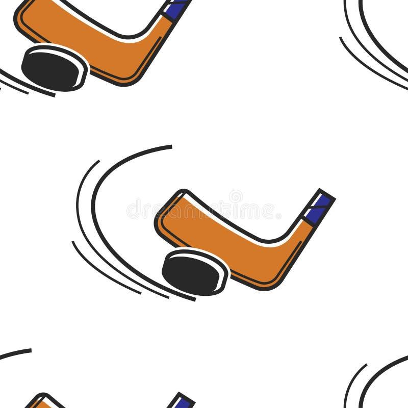 Disco e putter senza cuciture del modello di sport hokey canadese illustrazione di stock