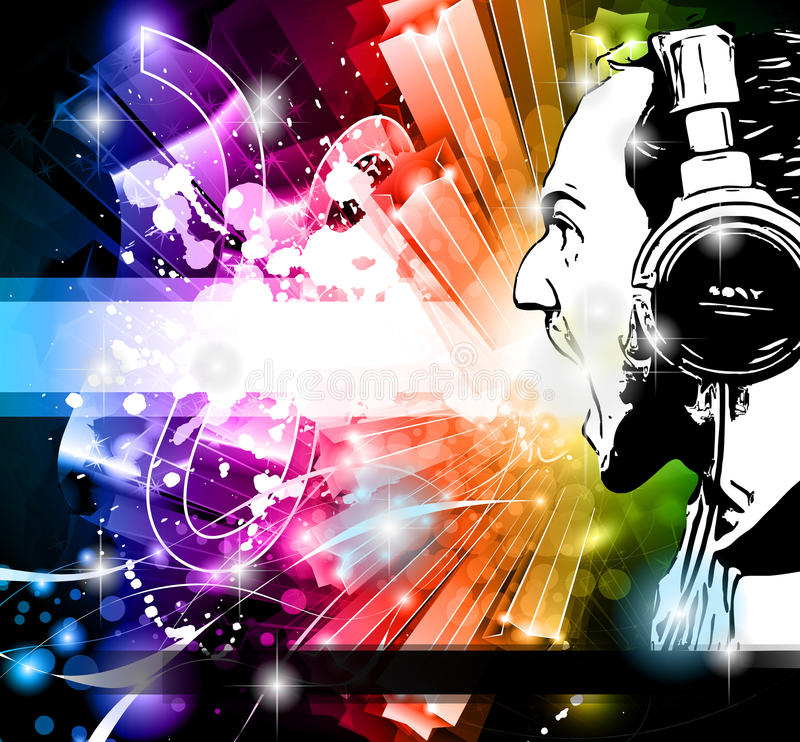 Disco Event Background With Disk Jockey Royalty Free Stock Images