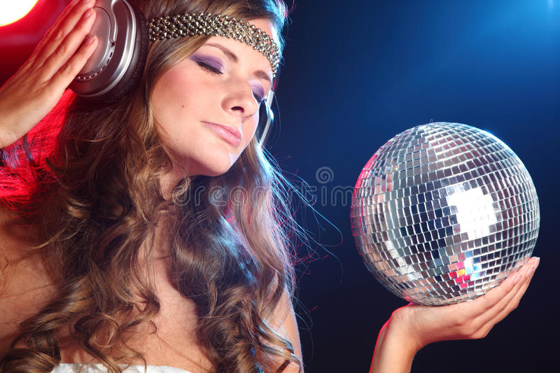Download Disco girl stock photo. Image of blue, face, beauty, isolated - 18344914