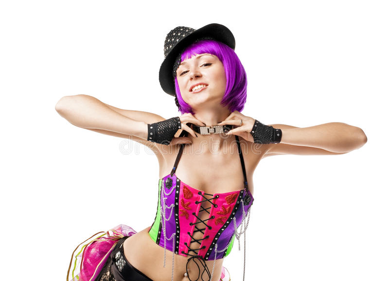 Disco girl with collar royalty free stock image