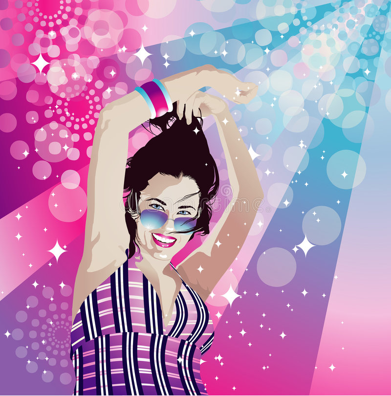 Disco girl dancing royalty free stock photography