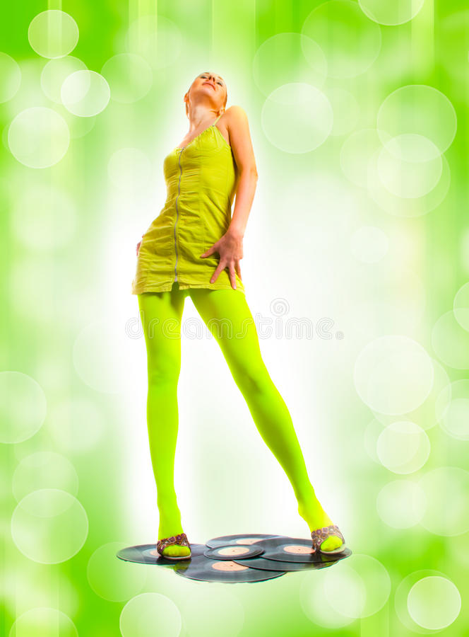 Free Disco Girl With Vinyl Royalty Free Stock Image - 12933406