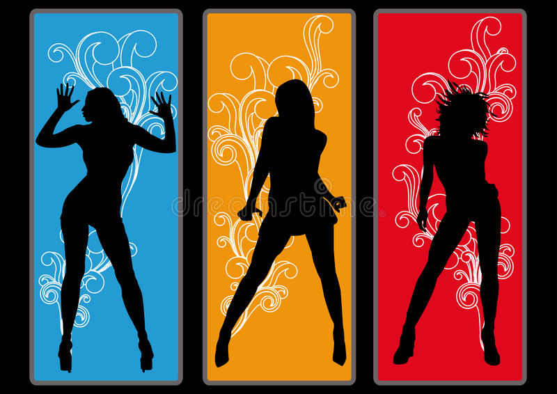 Disco Girls Flyer Poster Party royalty free illustration