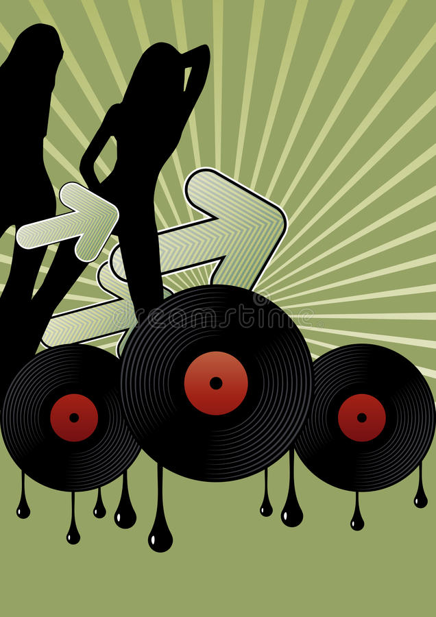 Disco Girls And Vinyl Records Stock Images
