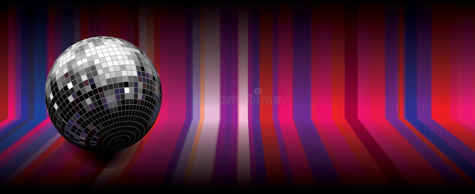 Disco globe. Illustration of disco globe on background with colorful stripes vector illustration