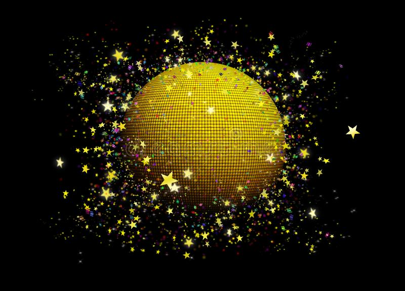 Disco gold ball. With golden stars circling around it and colorful confetti papers vector illustration