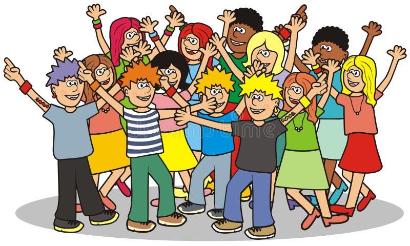 Disco, grupo de adolescentes, ícone do vetor ilustração royalty free