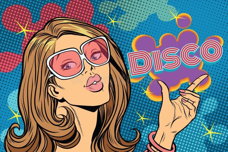 Disco hermoso de la mujer, estilo del arte pop ilustración del vector