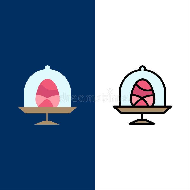 Disco, huevo, comida, iconos de Pascua El plano y la línea icono llenado fijaron el fondo azul del vector libre illustration