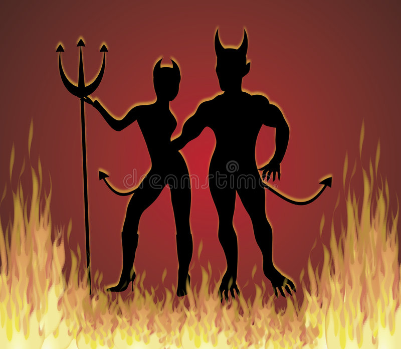 Disco Inferno. Illustration of She Devil and He Devil dancing in fire royalty free illustration