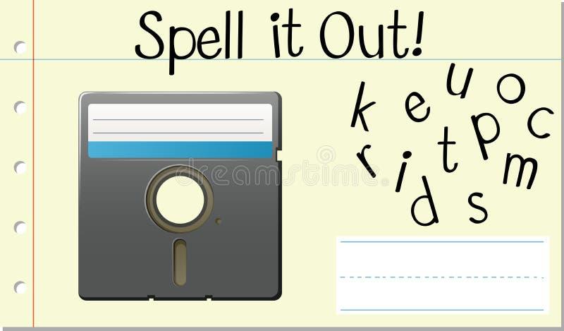 Disco inglês do computador de palavra do período ilustração do vetor
