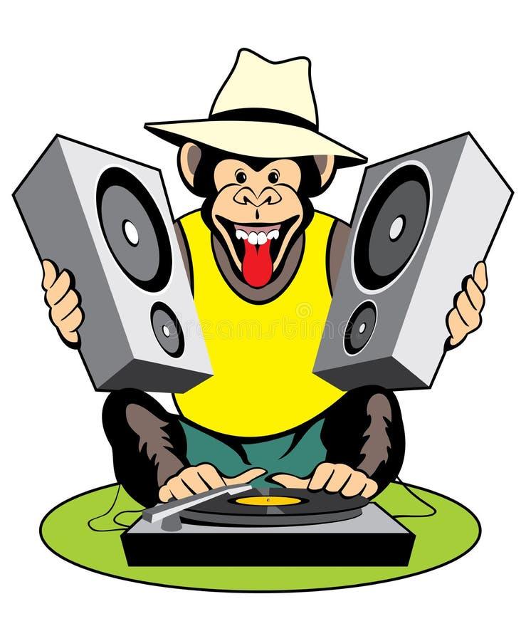 Disco-jóquei do macaco ilustração do vetor