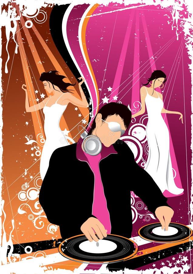Disco jockey and dancing girls vector illustration