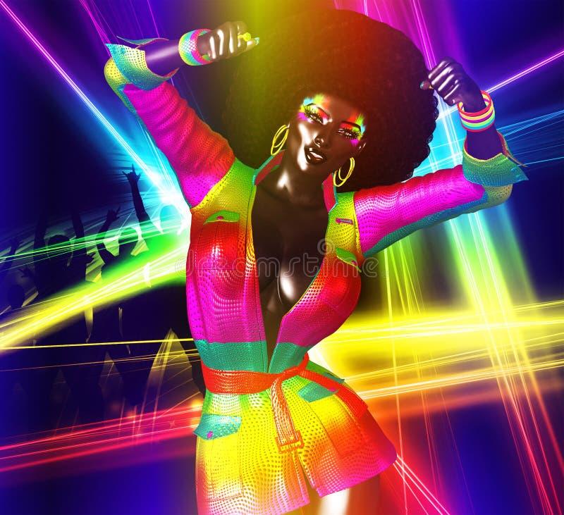 Disco-Königin, mit fabelhafter Retro- Afrofrisur vektor abbildung