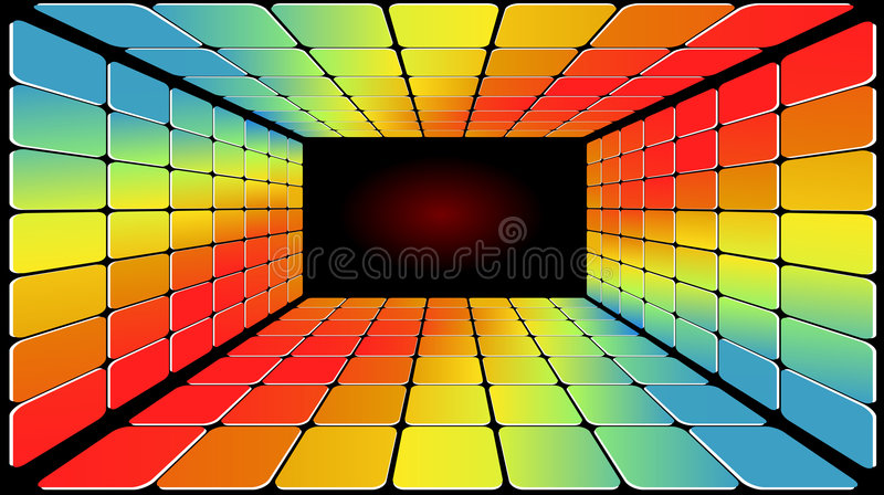 Disco Light Floor. In Several Bright Psychedelic Colours royalty free illustration