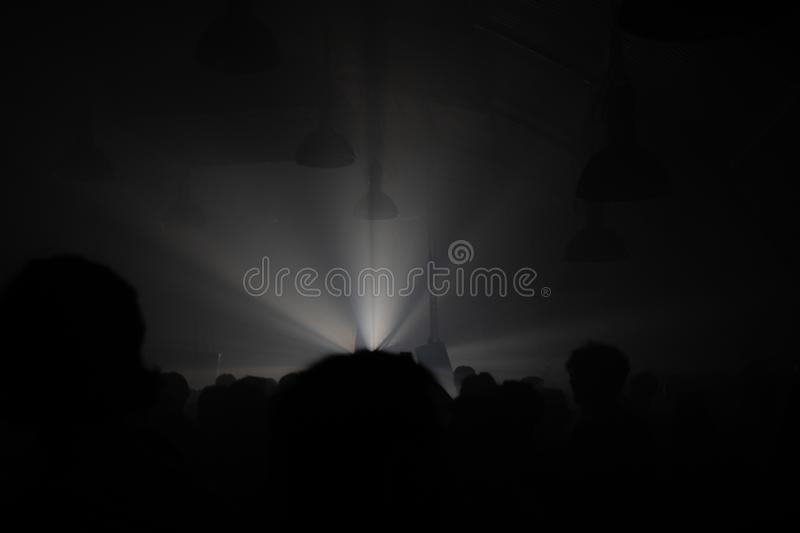 Disco lights in a techno underground club. Concept of old raves of 90`s.  stock images