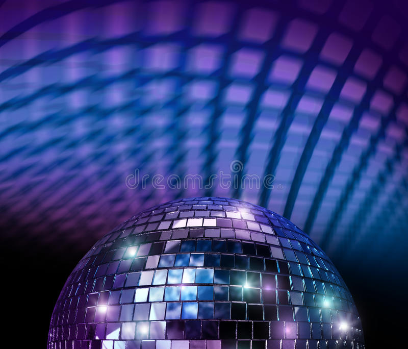 Disco mirror ball. Light spot reflections in blue background royalty free stock image