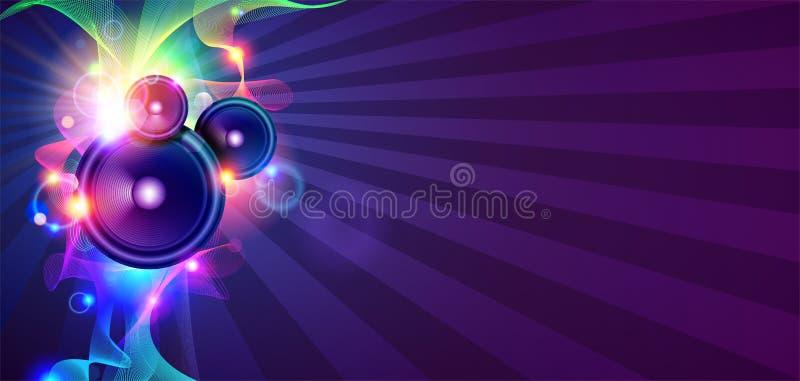 Disco-Musik-Hintergrund mit Schallwellen stock abbildung