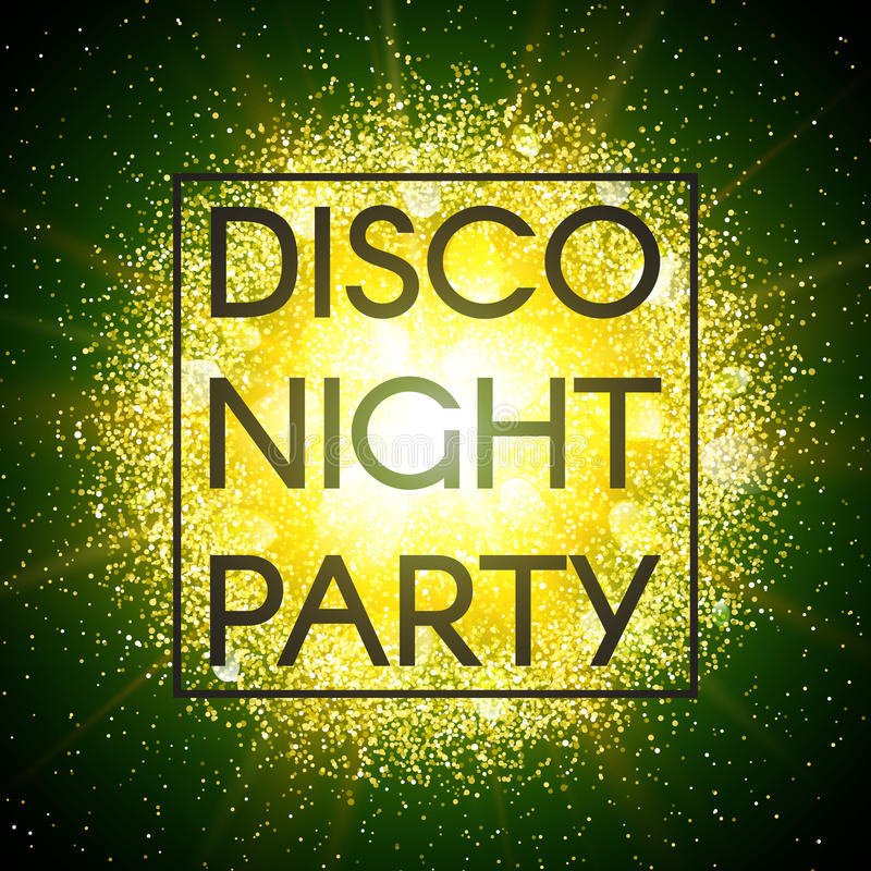 Disco night party banner on abstract explosion background with gold glittering elements and green glow. Dust firework vector illustration