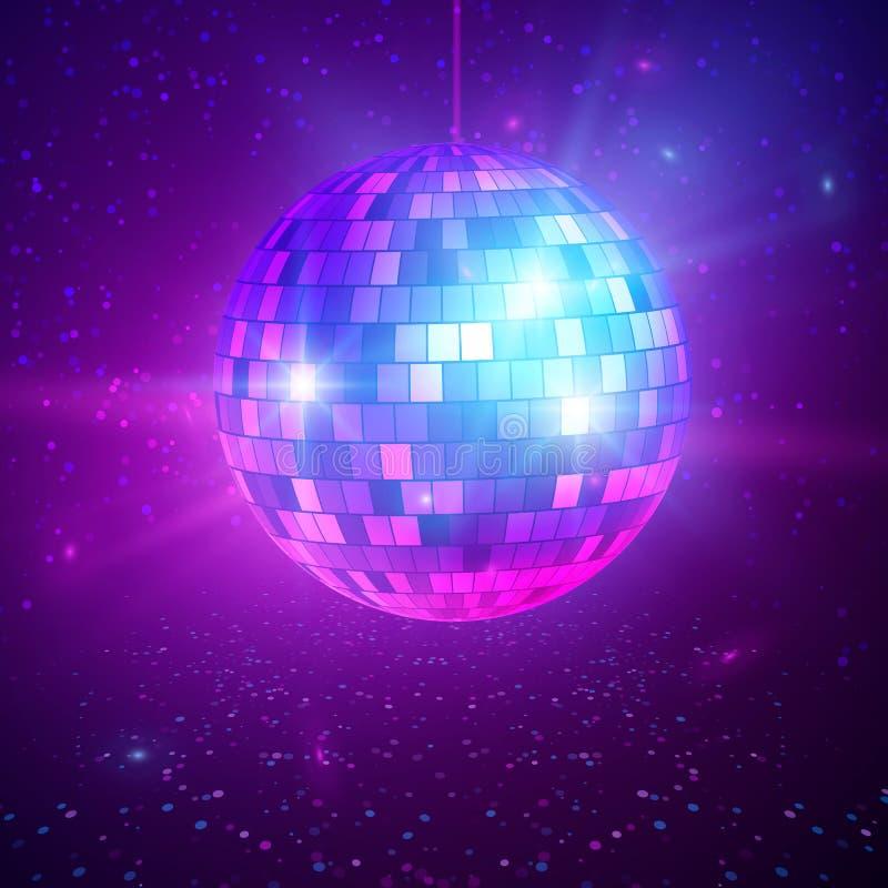 Disco o bola de espejo con los rayos brillantes Fondo del partido de la noche de la música y de la danza Fondo retro abstracto 80 stock de ilustración