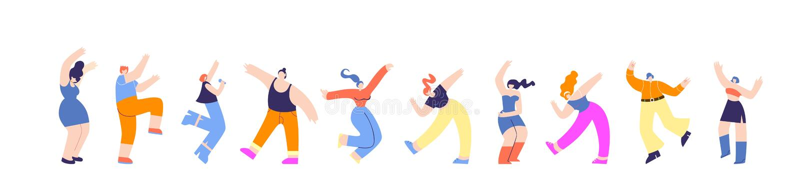 Disco-Partei-Gruppen-tanzende Leute-horizontale Fahne vektor abbildung
