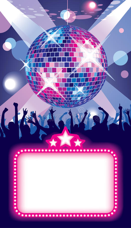 Disco party. Isolated raster version of vector image of disco banner with a party in the night club (contain the Clipping Path) There is in addition a vector