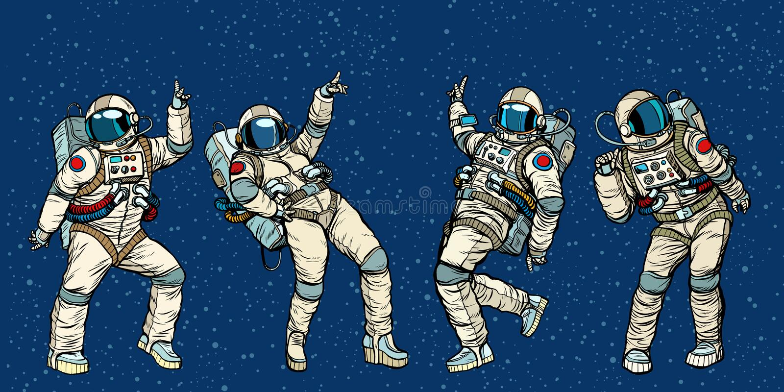 Disco party astronauts dancing men and women royalty free illustration