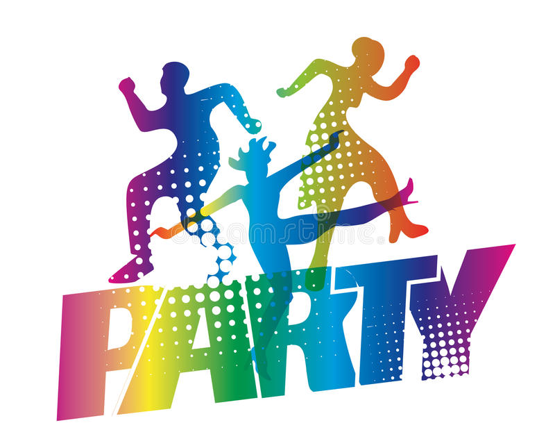 Disco party dancers silhouettes. Disco Dancers silhouettes on the colorful inscription Party. Vector available vector illustration