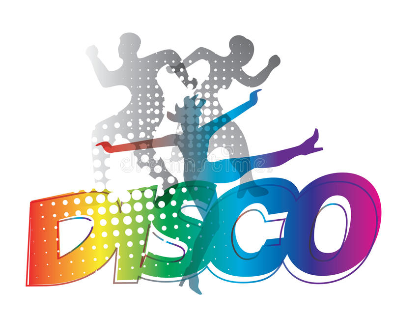 Disco party dancers silhouettes. Disco Dancers silhouettes on the colorful inscription Disco. Vector available royalty free illustration