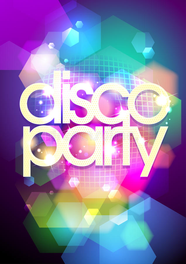 Disco party design on a bokeh background. vector illustration