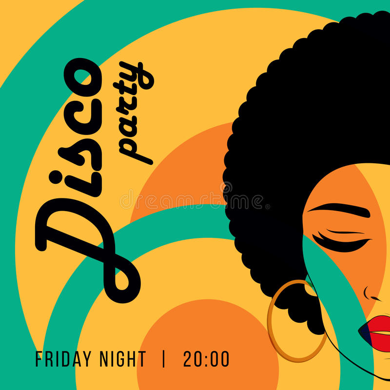 Disco party event flyer. Creative vintage poster. Vector retro style template. Front view portrait of a black woman face vector illustration