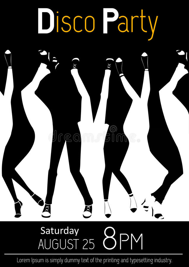 Disco party flyer. Closeup of legs dancing. Black and white illustration stock illustration