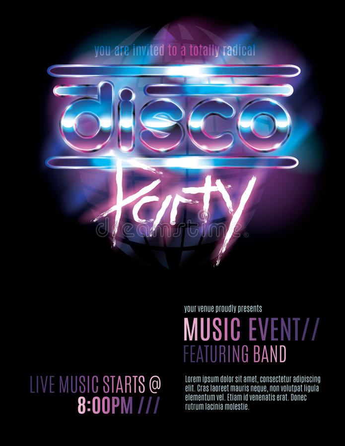 Disco Party Flyer Template Stock Vector Illustration Of Letter