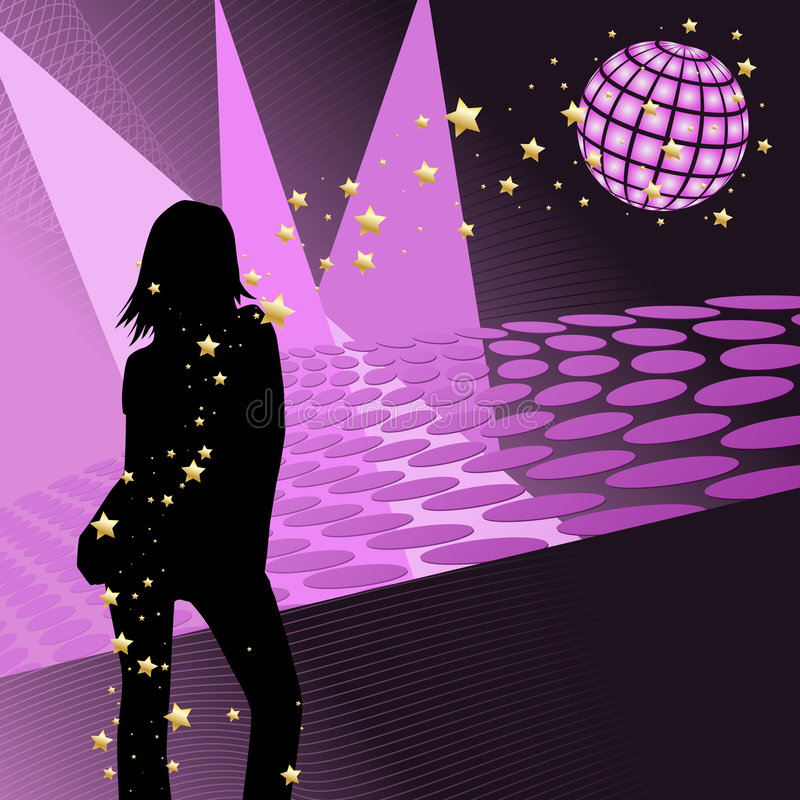 Download Disco party girl stock vector. Image of club, retro, decorative - 6435780