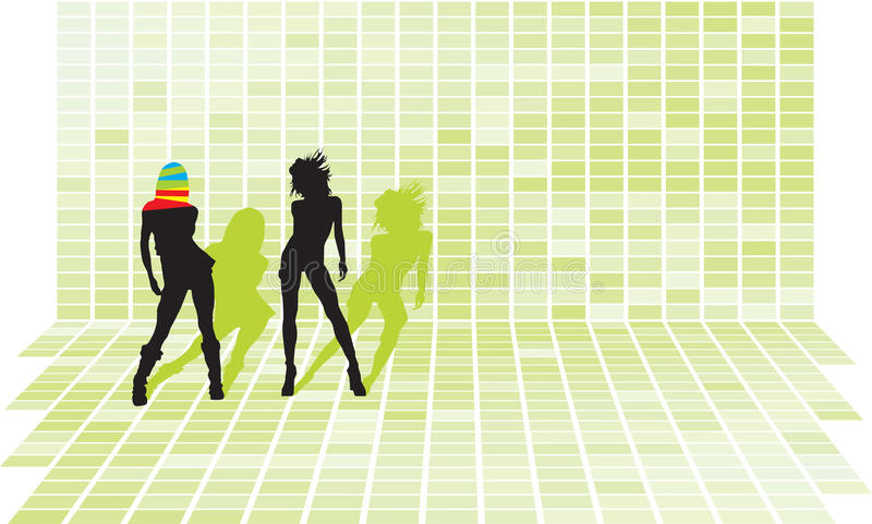 Disco party girls. Vector silhouettes at green squares 3d mosaic wall vector illustration