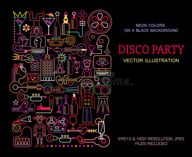 Download Disco Party Poster Template Design Stock Vector