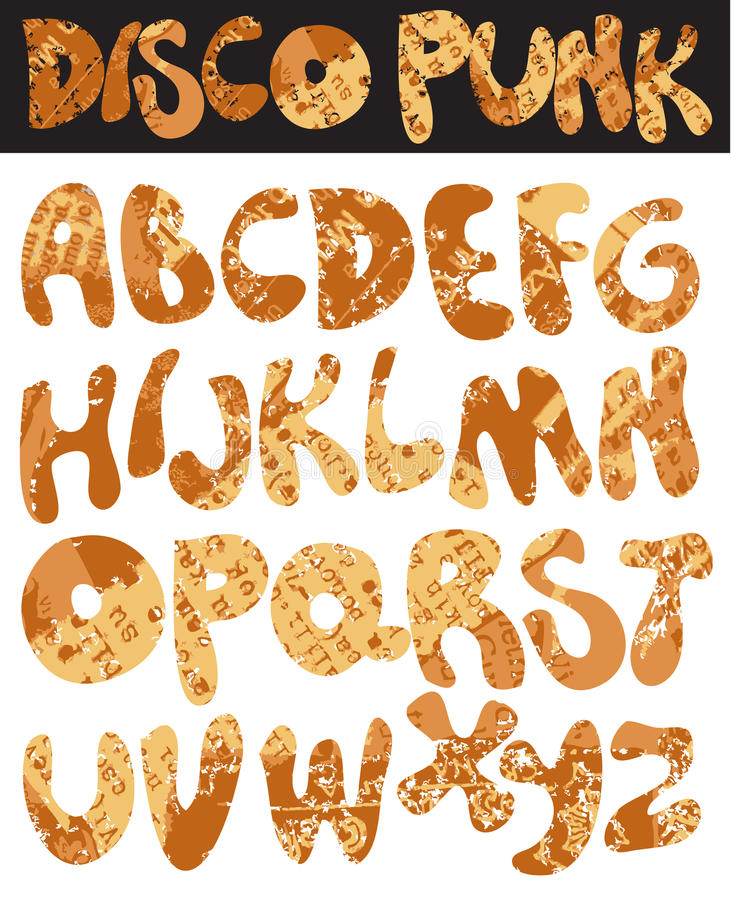 Download Disco punk font stock vector. Illustration of grungy - 11300409