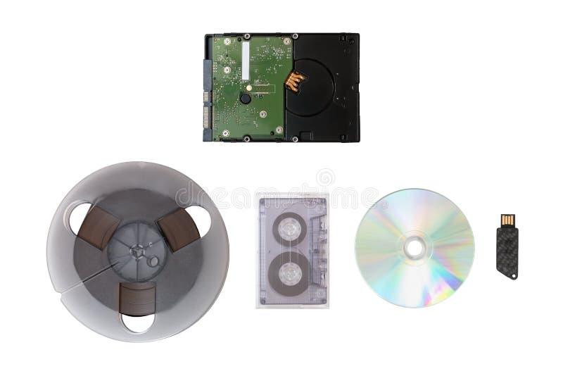 Disco rígido, CD, cassete, fita de estúdio imagens de stock royalty free