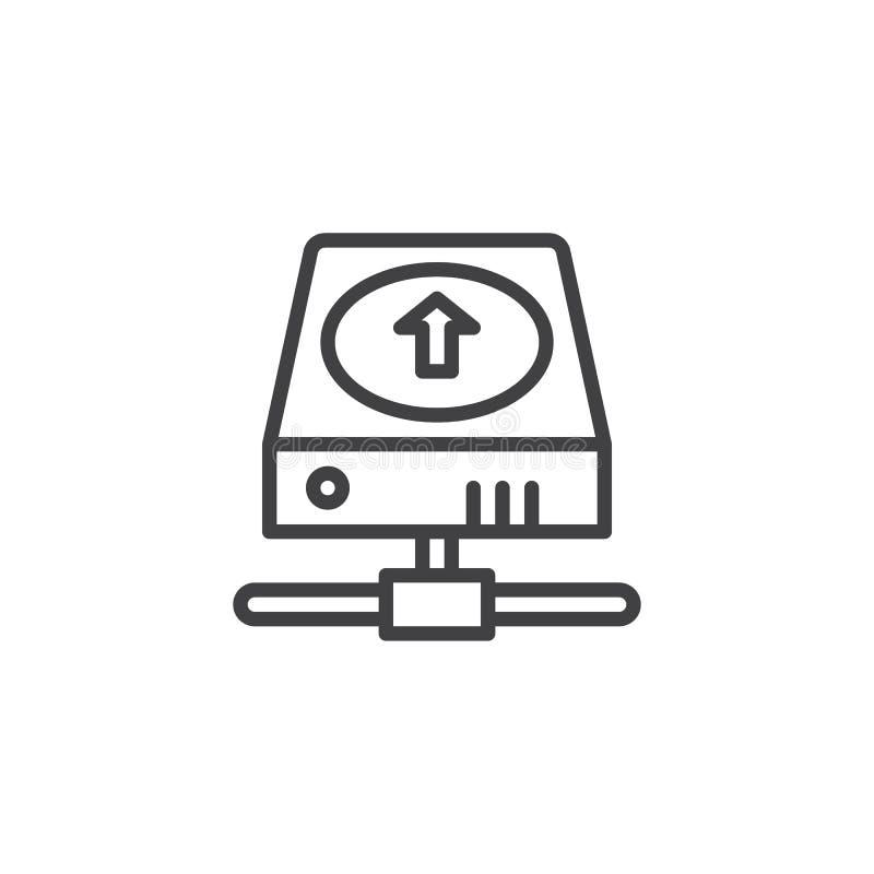 Disco rígido com linha ícone da seta da transferência de arquivo pela rede ilustração royalty free