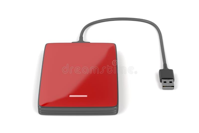 Disco rígido externo do vermelho ilustração do vetor