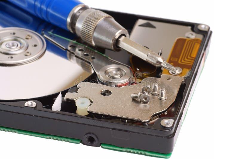 Disco rígido magnético do computador do diagnóstico e do reparo fotos de stock