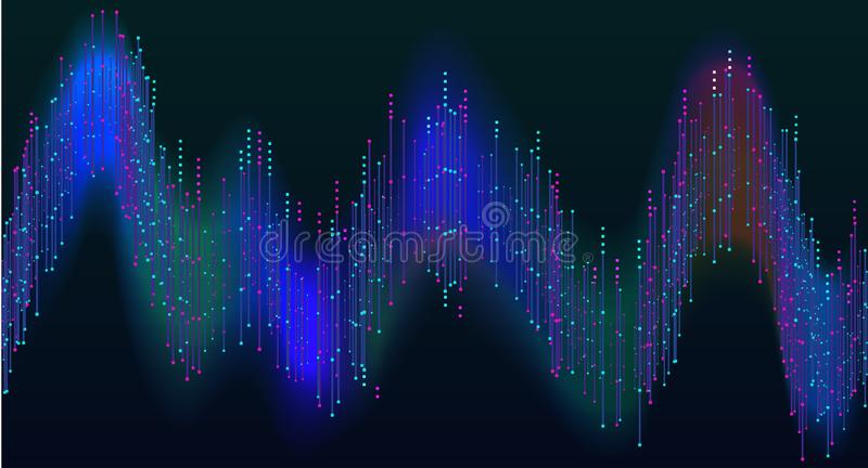 Disco rainbow colored music sound waves for equalizer or waveform design, vector illustration of musical pulse. Disco rainbow colored music sound waves for royalty free illustration